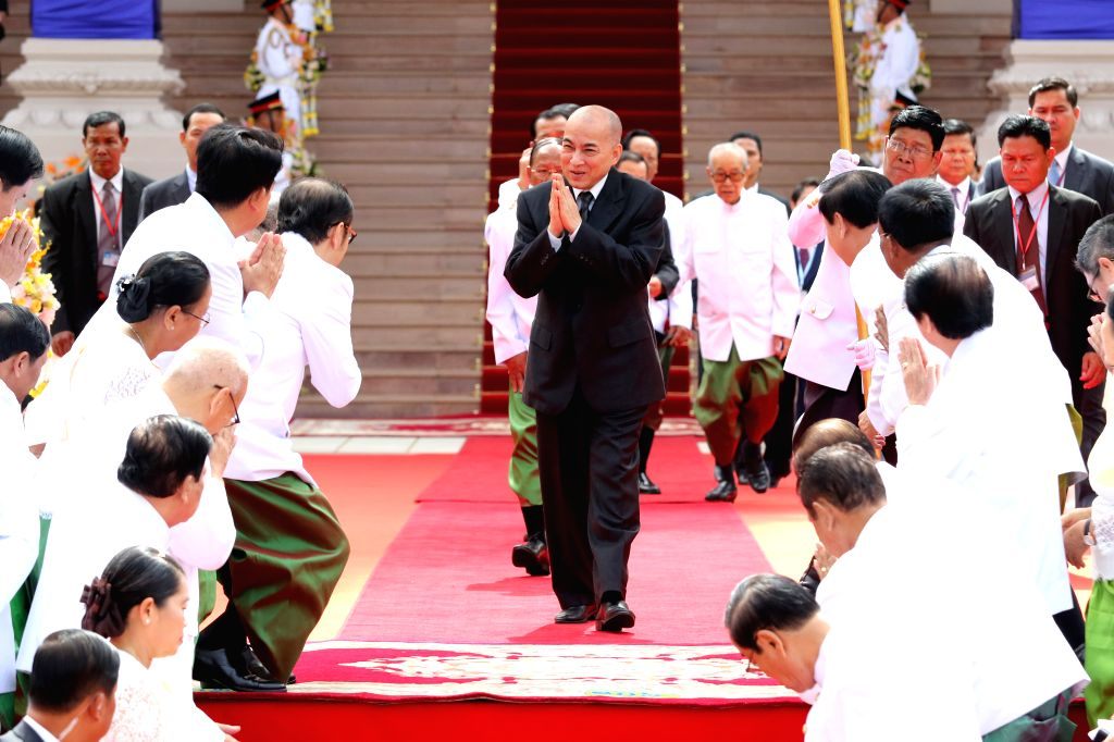 PHNOM PENH, Sept. 5, 2018 - Cambodian King Norodom Sihamoni (C, front) leaves the National Assembly in Phnom Penh, Cambodia on Sept. 5, 2018. Cambodian King Norodom Sihamoni presided over the opening ... - Samdech Techo Hun S