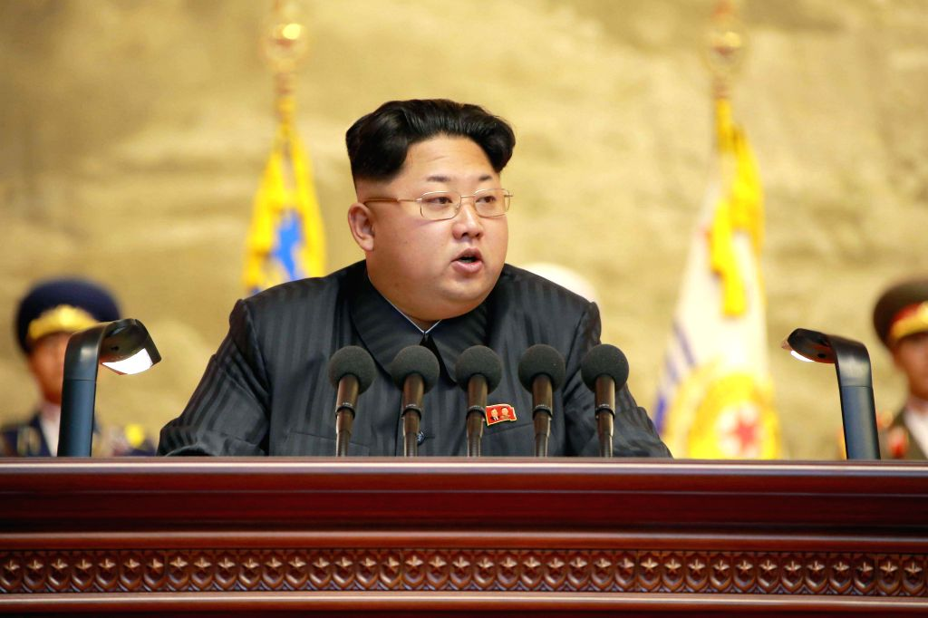 Photo provided by Korean Central News Agency (KCNA) on July 26, 2015 shows top leader of the Democratic People's Republic of Korea (DPRK) Kim Jong Un making a ...