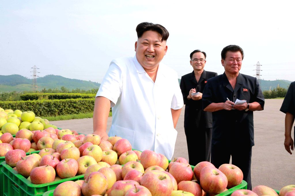 Photo provided by Korean Central News Agency (KCNA) on Aug.18 , 2015 shows top leader of the Democratic People's Republic of Korea (DPRK) Kim Jong Un (1st L) ...