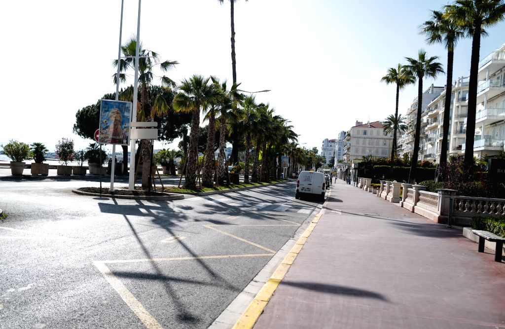 Photo shows an empty street in Cannes, France