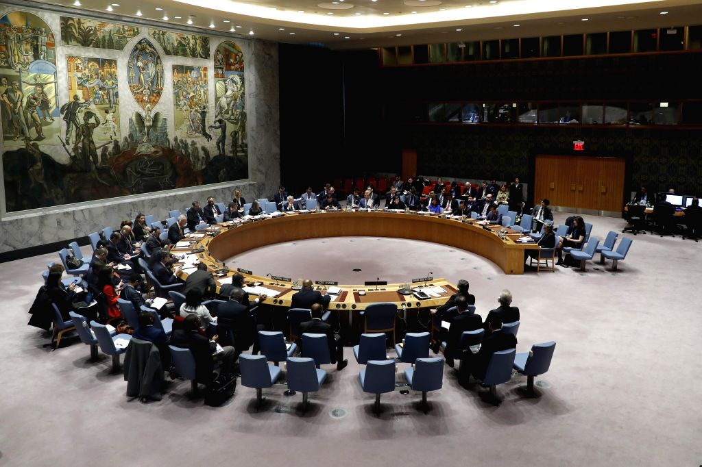 :Photo taken on April 4, 2018 shows a general view of the United Nations Security Council meeting on the situation in Syria at the UN headquarters in New ...