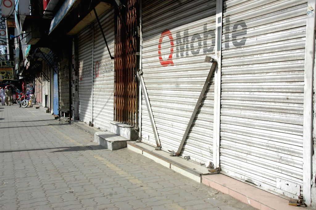 Photo taken on Aug. 1, 2015 shows closed shops at a market during a traders' strike in eastern Pakistan's Lahore. The business community is observing a nationwide ...