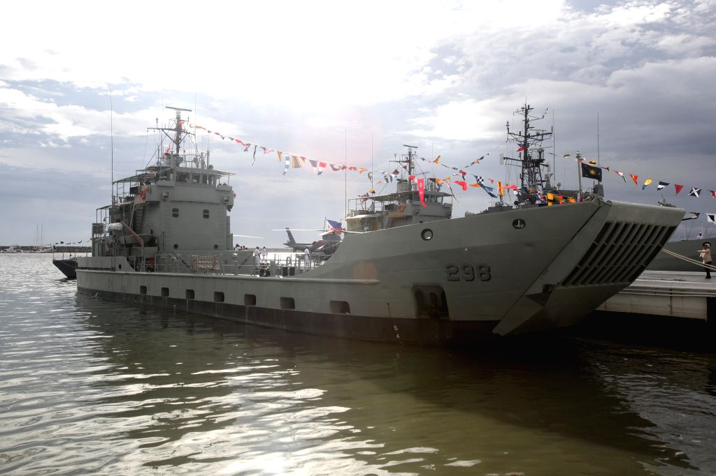 Photo taken on Aug. 10, 2015 shows the BRP Batak docking at a bay in Manila, the Philippines. BRP Batak and BRP Ivatan are the decommissioned Landing Craft Heavy ...