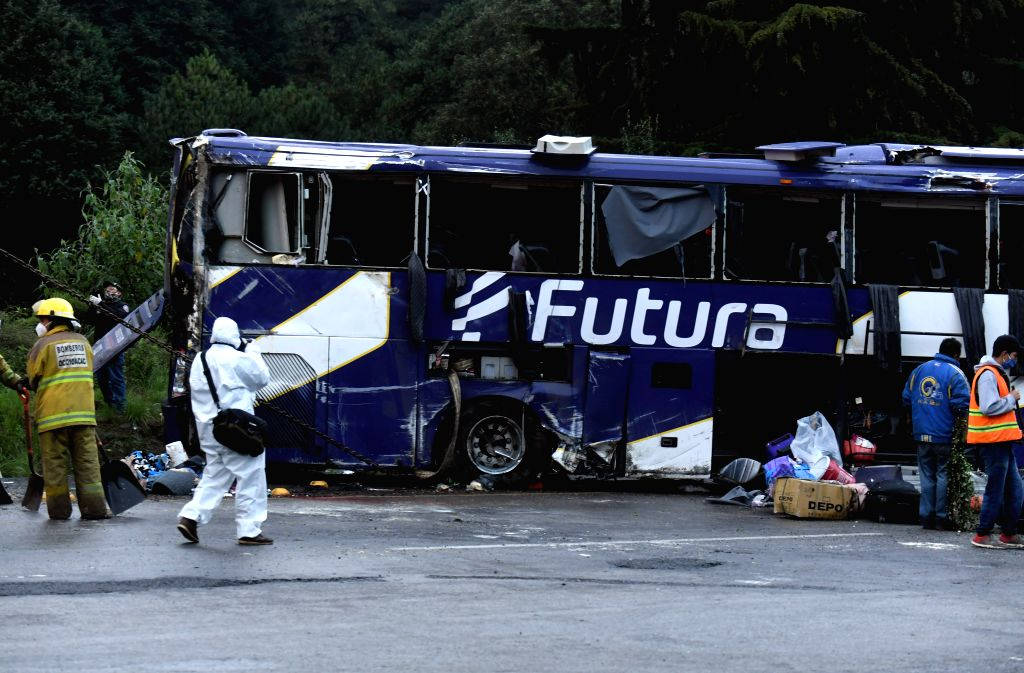 Photo taken on Aug. 11, 2020 shows the site of a bus crash accident near Ocoyoacac, a suburb of Toluca, Mexico. At least 13 people were killed and 24 were injured on ...