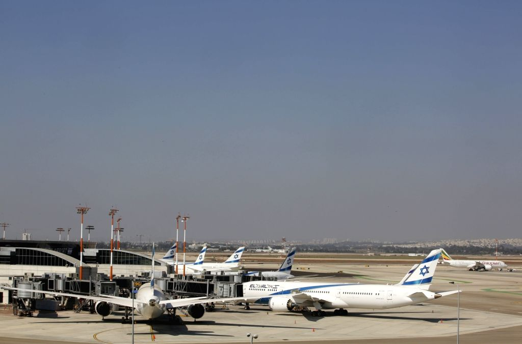 Photo taken on Aug. 13, 2020 shows airplanes at the Ben Gurion International Airport near central Israeli city of Tel Aviv.   Israel's Ministry of Health ...
