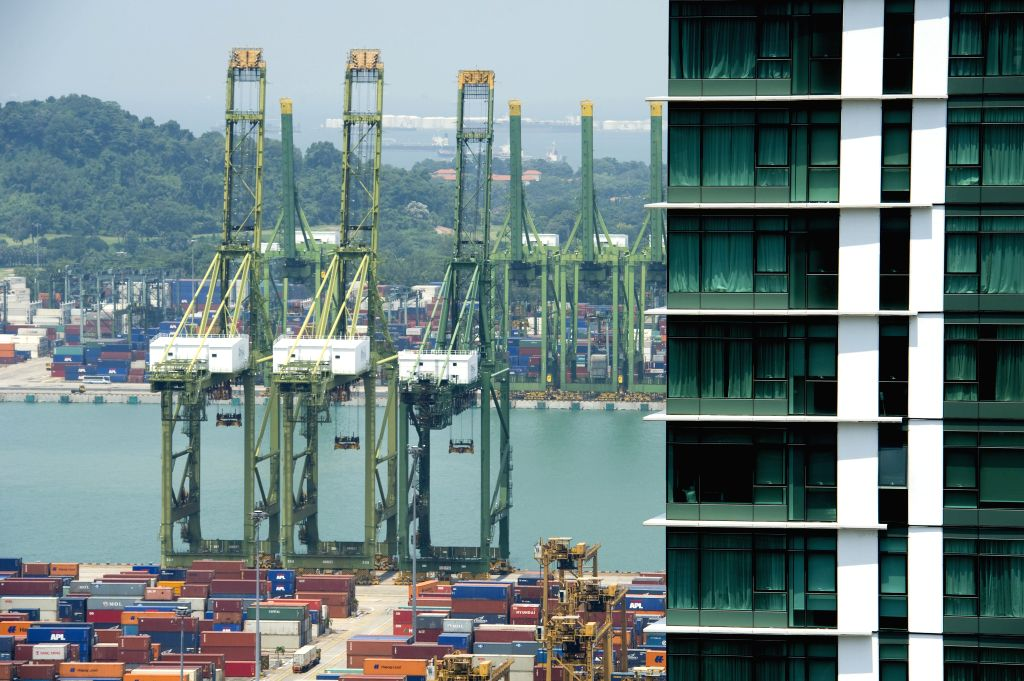Photo taken on Aug. 18, 2015 shows containers stacked neatly at Singapore's Tanjong Pagar Container Terminal.