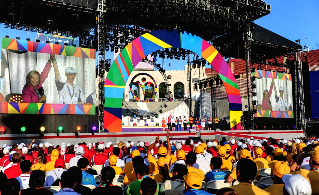 Photo taken on Aug. 2, 2015 shows the closing ceremony of the Special Olympics World Games at the Los Angeles Memorial Coliseum in Los Angeles, the United ...