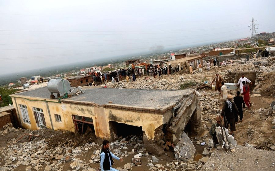 Photo taken on Aug. 26, 2020 shows damaged houses after a flood in Charikar, Parwan province, Afghanistan.