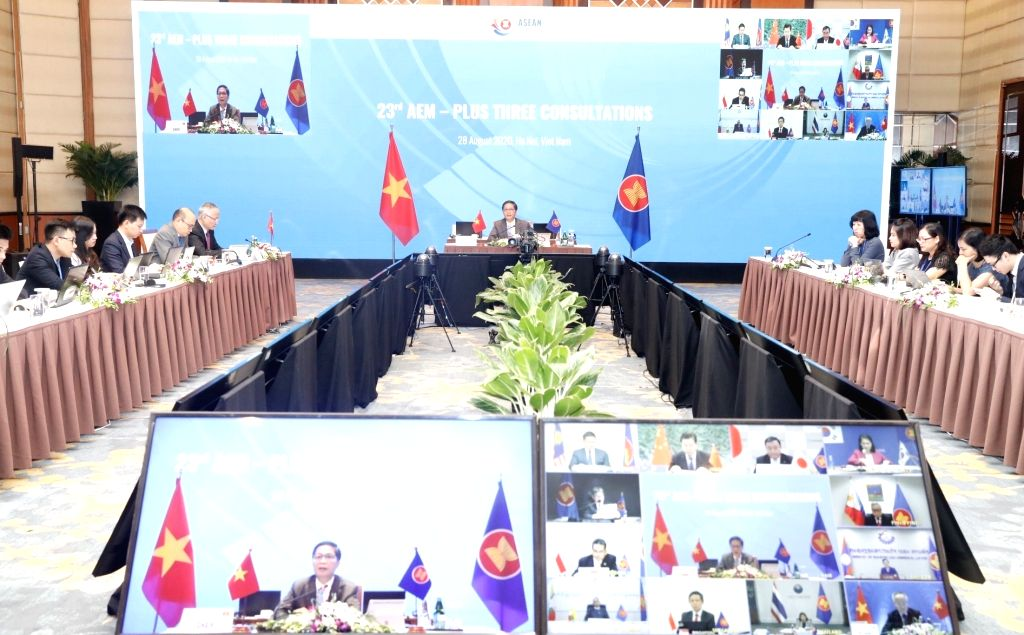 Photo taken on Aug. 28, 2020 shows the venue of the 23rd ASEAN Economic Ministers Plus Three Consultations in Hanoi, Vietnam. Economic ministers from the 10 members ... - Plus Three Consultations
