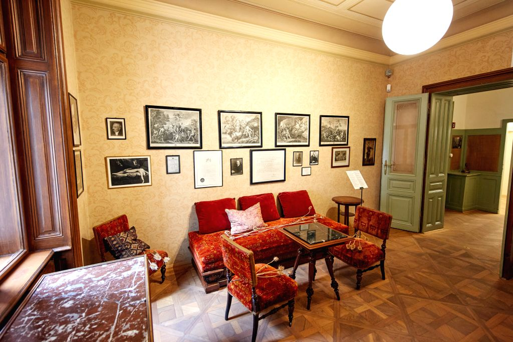 Photo taken on Aug. 29, 2020 shows the interior of Sigmund Freud Museum in Vienna, Austria. Sigmund Freud Museum in Vienna reopened to visitors on Saturday after an ...