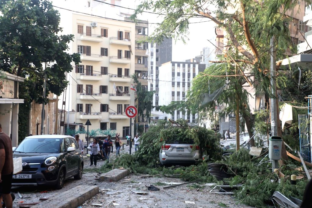 Photo taken on Aug. 4, 2020 shows a scene after the explosion in Beirut, Lebanon. Two huge explosions rocked Lebanese capital Beirut on Tuesday, leaving at least 50 ...