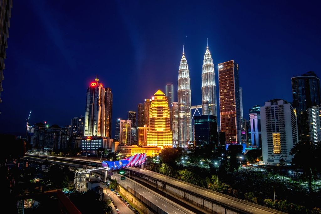 Photo taken on Aug. 8, 2020 shows a night view of Kuala Lumpur, Malaysia.   The Malaysian economy contracted 17.1 percent year on year in the second quarter, ...
