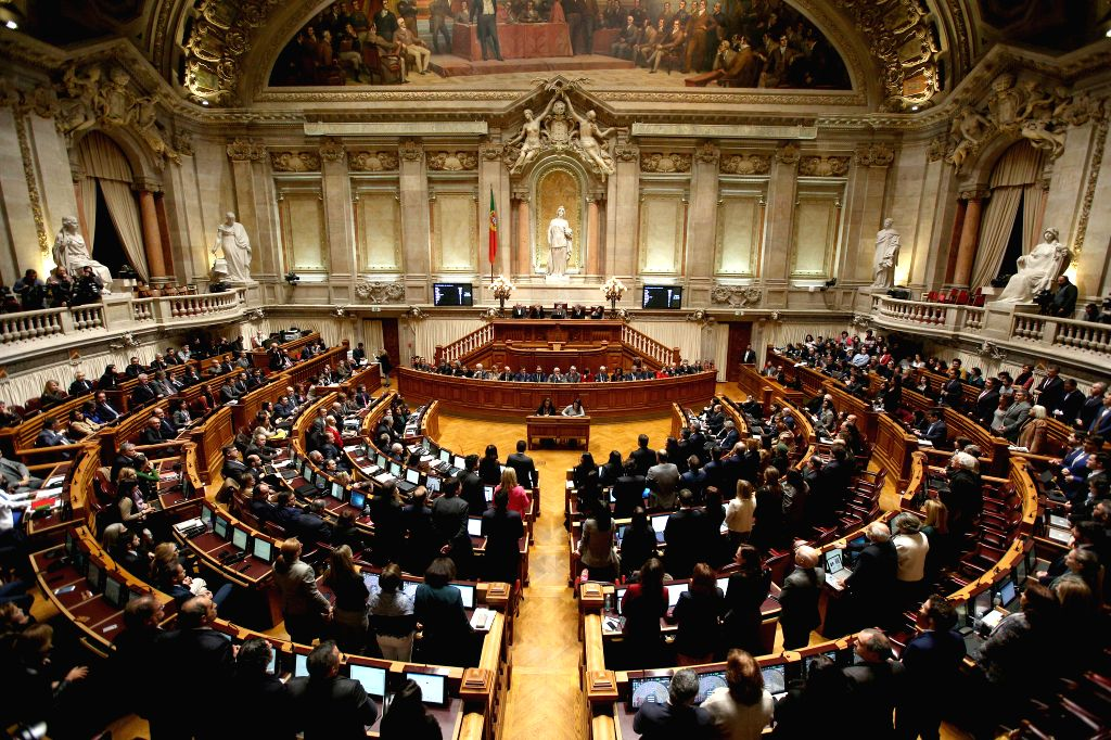 Photo taken on Jan. 10, 2020 shows a view of the State Budget 2020 final debate at the Portuguese Parliament in Lisbon, Portugal. Portugal's State Budget 2020 final ...