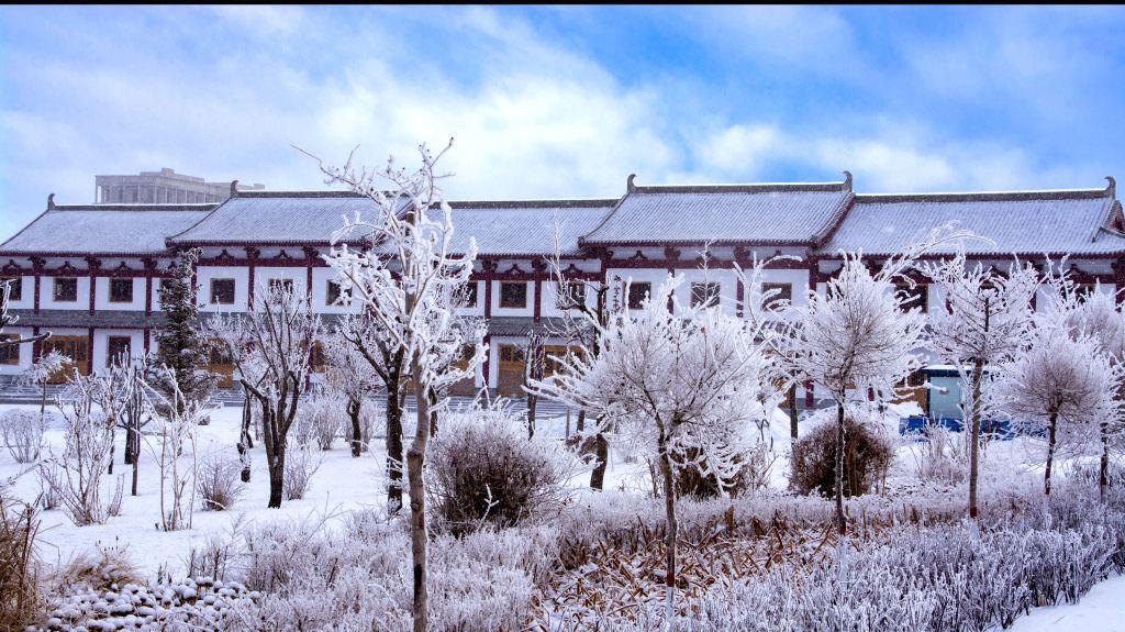 Photo taken on Jan. 17, 2016 shows the scenery of rime in Yumen City, northwest China's Gansu Province. (Xinhua/Wan Zongping)