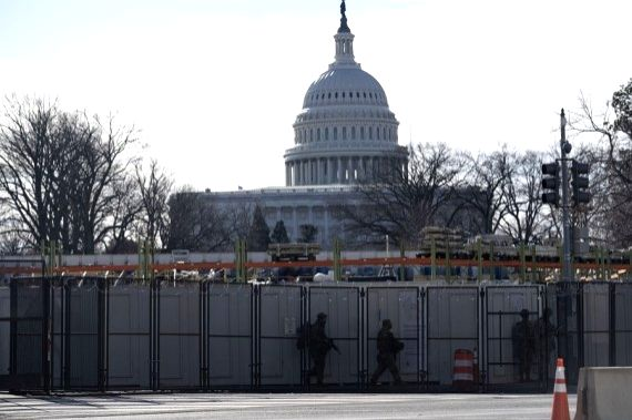 Photo taken on Jan. 18, 2021 shows the U.S. Capitol building in Washington, D.C., the United States.
