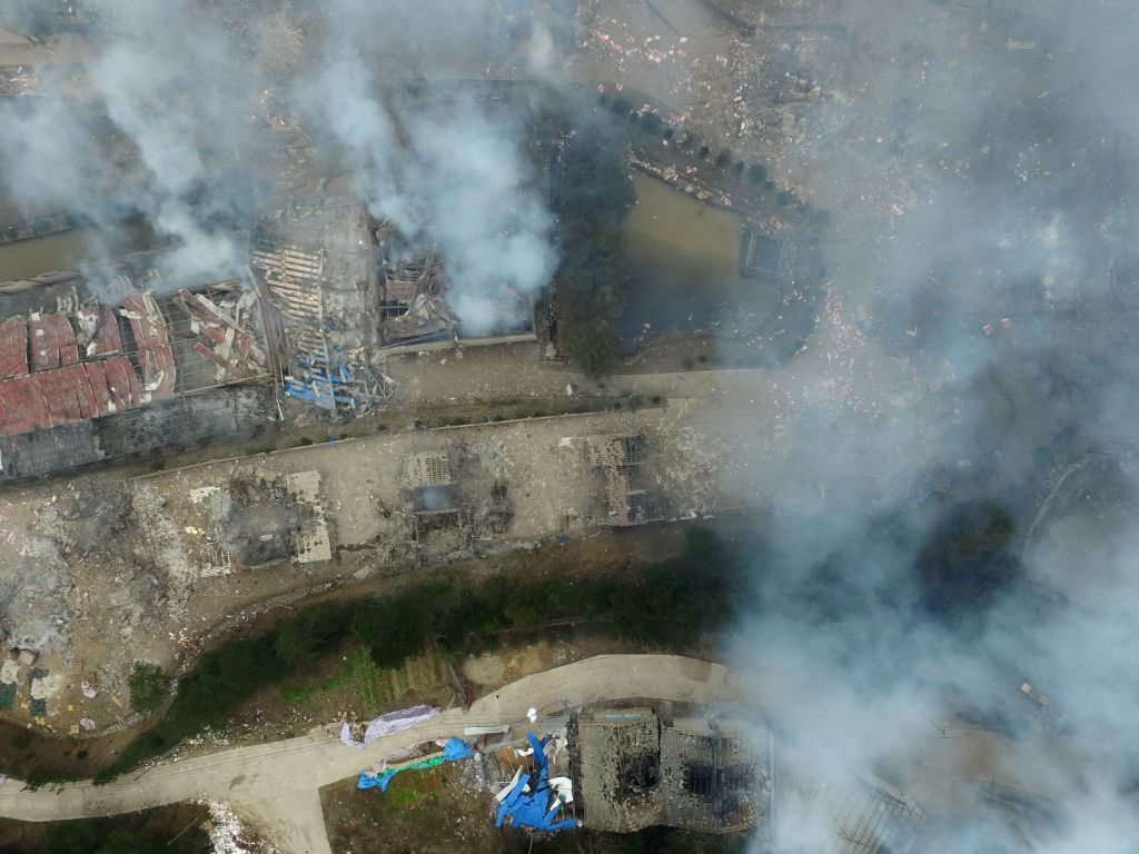 Photo taken on Jan. 20, 2016 shows the blast site of Hongsheng fireworks plant at Kunshan Village in the Guangfeng District of Shangrao City, east China's Jiangxi ...