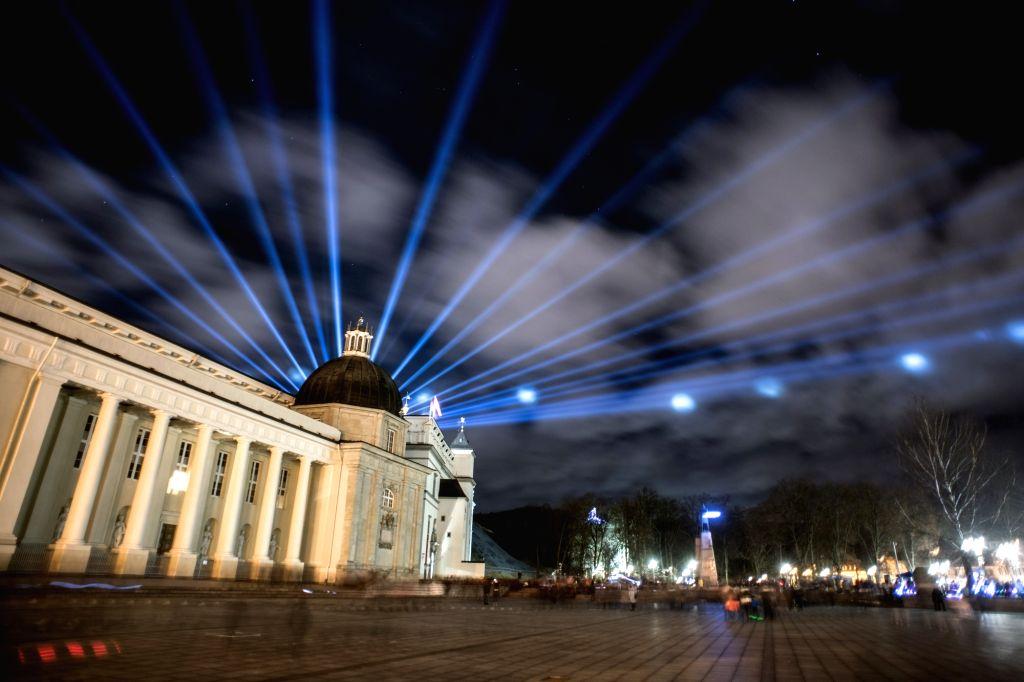 Photo taken on Jan. 25, 2020 shows light installations during the Vilnius Festival of Light in Vilnius, capital of Lithuania. The festival presented light ...