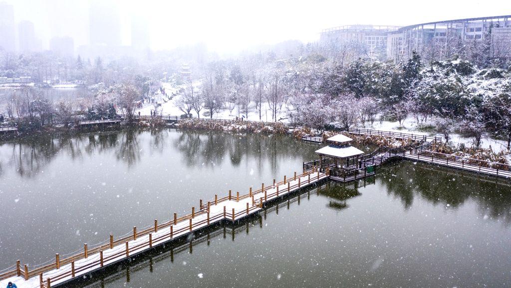 Photo taken on Jan. 25, 2020 shows the snow scenery of Guanshan Lake Park in Guiyang City, southwest China's Guizhou Province.