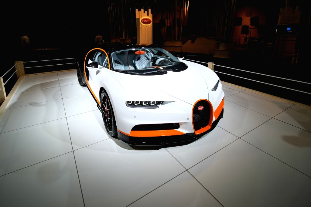 """Photo taken on Jan. 8, 2020 shows a Bugatti Chiron Sport car at the """"Dream Cars"""" salon of the 98th Brussels Motor Show in Brussels, Belgium. The 98th ..."""