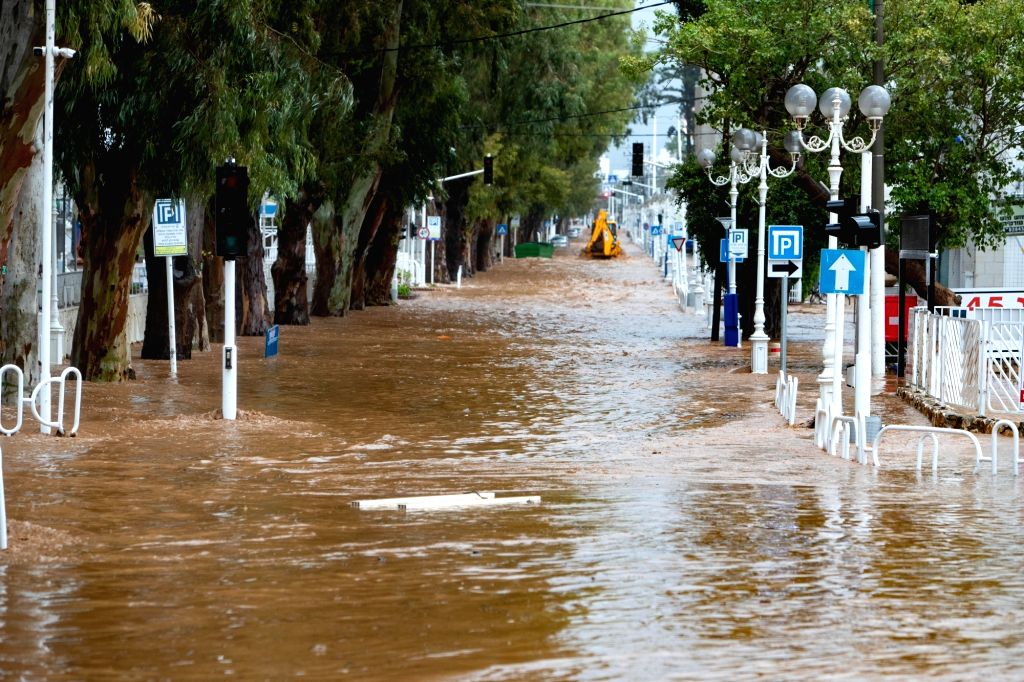 Photo taken on Jan. 8, 2020 shows a flooded road in the northern Israeli city of Nahariya. Floods broke out across the city due to unusually high amounts of ...