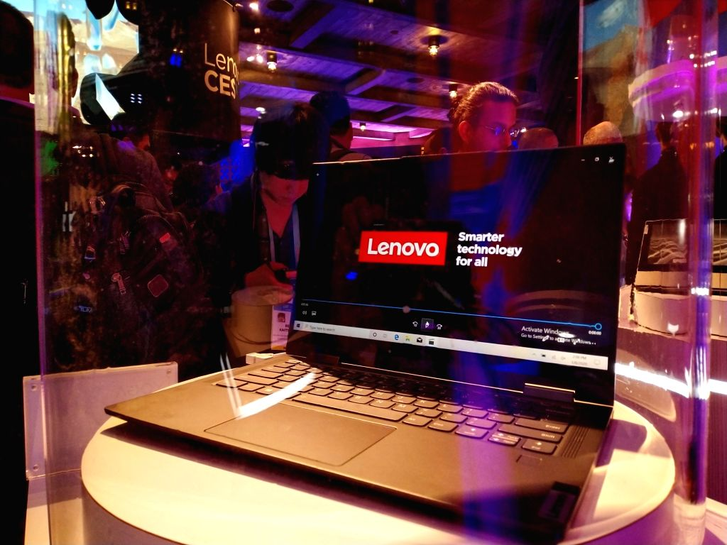 Photo taken on Jan. 8, 2020 shows a Lenovo 5G personal computer at the 2020 Consumer Electronics Show in Las Vegas, the United States. China's tech giant Lenovo ...
