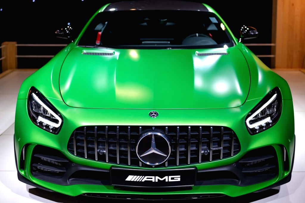 """Photo taken on Jan. 8, 2020 shows a Mercedes-Benz AMG GT R car at the """"Dream Cars"""" salon of the 98th Brussels Motor Show in Brussels, Belgium. The 98th ..."""