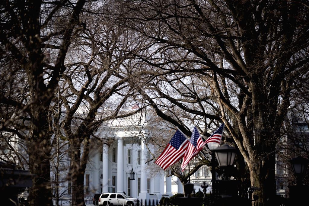 Photo taken on Jan. 8, 2020 shows the White House in Washington D.C., the United States. U.S. President Donald Trump said on Wednesday that no U.S. casualties ...
