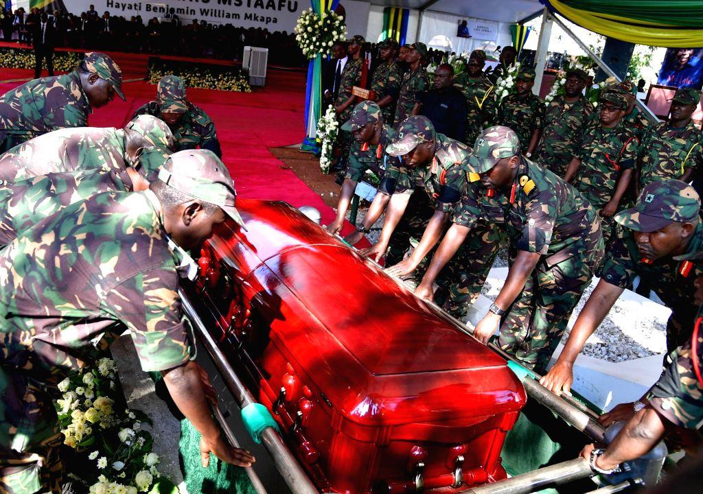 Photo taken on July 29, 2020 shows the burial ceremony of former Tanzanian President Benjamin Mkapa in Lupaso village, Masasi district of Mtwara, Tanzania. ...