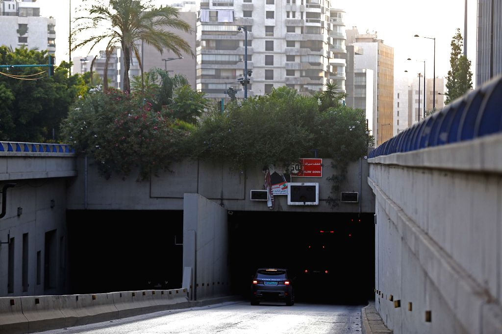 Photo taken on July 5, 2020 shows the tunnels without lights during a blackout in Beirut, Lebanon. Hundreds protested on Sunday near Lebanon's state power utility ...