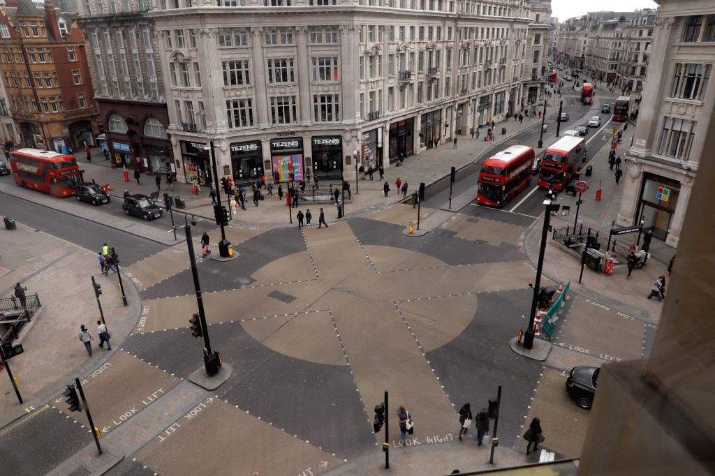 Photo taken on March 18, 2020 shows a general view of Oxford Circus in London, Britain. British Prime Minister Boris Johnson said Wednesday that all schools in the ... - Boris Johnson