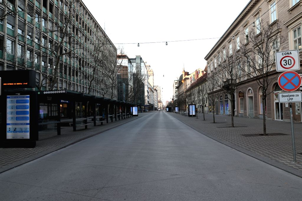 Photo taken on March 18, 2020 shows an empty street in Ljubljana, capital city of Slovenia. The number of confirmed coronavirus cases in Slovenia rose by 11 to ...