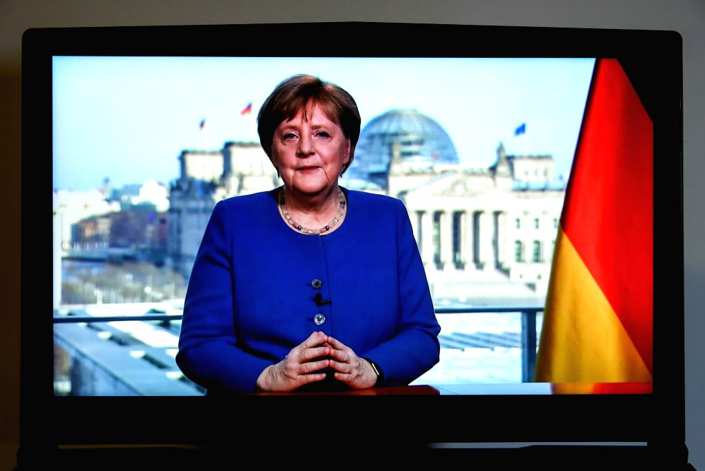 Photo taken on March 18, 2020 shows German Chancellor Angela Merkel delivering a video speech on COVID-19, in Berlin, capital of Germany. German Chancellor Angela ...