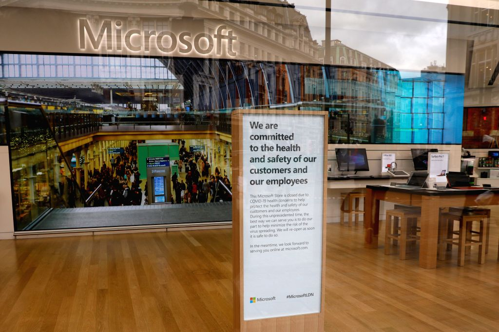 Photo taken on March 18, 2020 shows the closed Microsoft store at Oxford Circus in London, Britain. British Prime Minister Boris Johnson said Wednesday that all ... - Boris Johnson