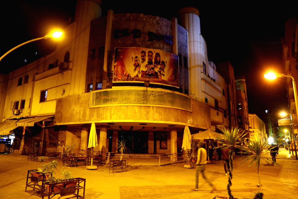 Photo taken on March 19, 2020 shows a closed cinema in downtown Cairo, Egypt. Egypt confirmed on Thursday 46 new COVID-19 cases, raising the number of discovered ...