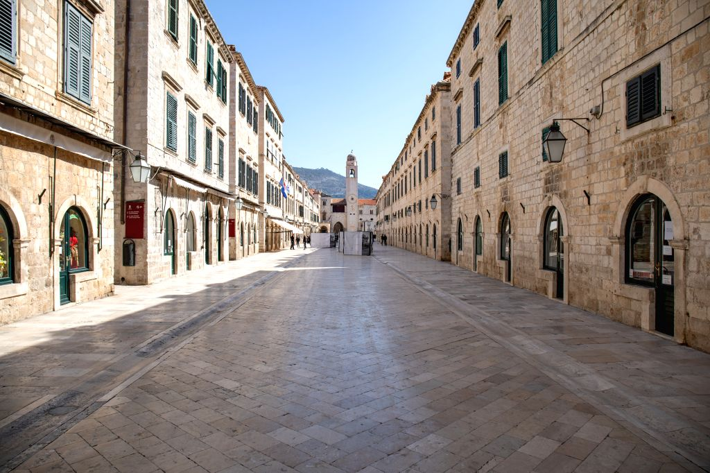 Photo taken on March 19, 2020 shows the main street of the Old Town of Dubrovnik in Croatia. Croatia has so far confirmed 105 cases of COVID-19 infection since ...