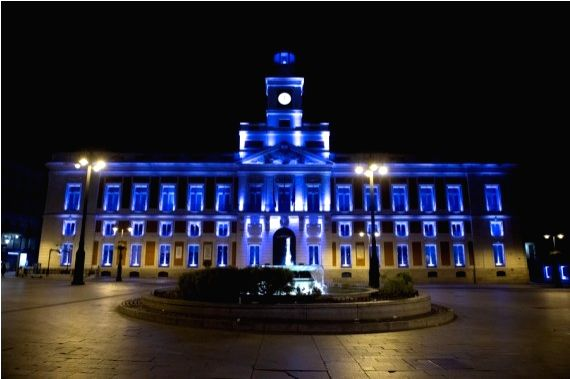 Photo taken on March 27, 2021 shows the empty Puerta del Sol square in Madrid, Spain.
