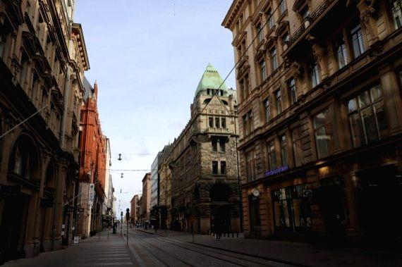 Photo taken on March 31, 2020 shows a street in Helsinki, Finland.