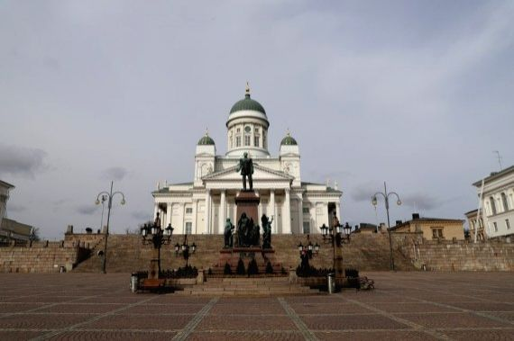 Photo taken on March 31 shows the Helsinki Cathedral in Helsinki, Finland.