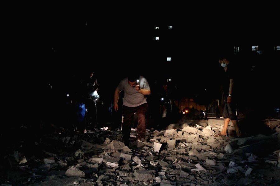 Photo taken on May 11, 2021 shows explosions following Israeli airstrikes in Gaza City. (Photo by Rizek Abdeljawad/Xinhua/IANS)