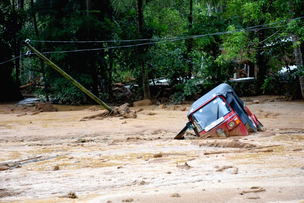 Photo taken on May 18, 2016 shows the site of a landslide in Kegalle District in Sri Lanka. The death toll from Sri Lanka's flash floods and landslides rose ...