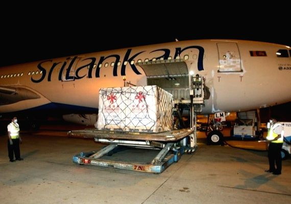 Photo taken on May 26, 2021 shows a batch of Sinopharm COVID-19 vaccines donated by the Chinese government arrives at the Bandaranaike International Airport in Colombo, Sri Lanka.