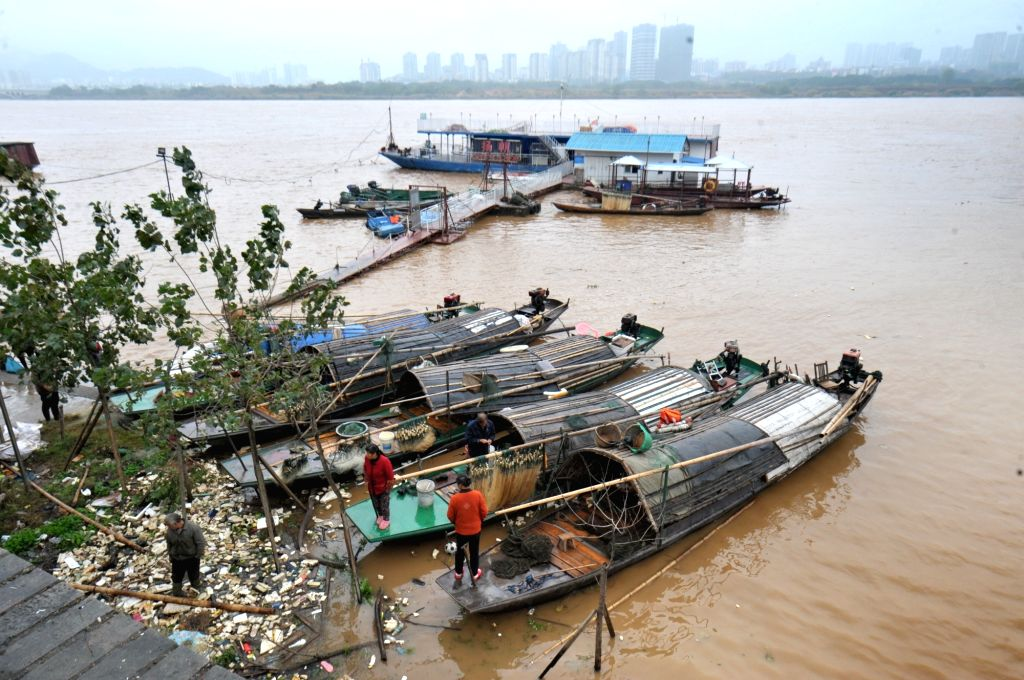Photo taken on Nov. 16, 2015 shows the main channel of the Xiangjiang River in Changsha, capital of central China's Hunan Province. A flood peak of the Xiangjiang ...