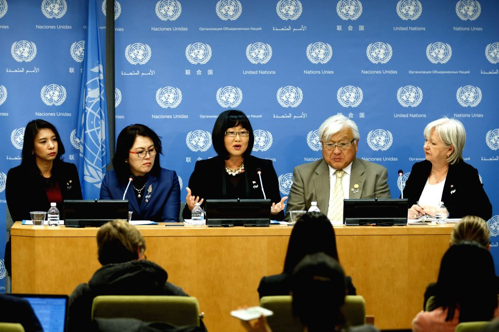 Photo taken on Nov. 23, 2015 shows a press briefing by the Permanent Mission of the Republic of Korea on the official launch of the International Parliamentary ...