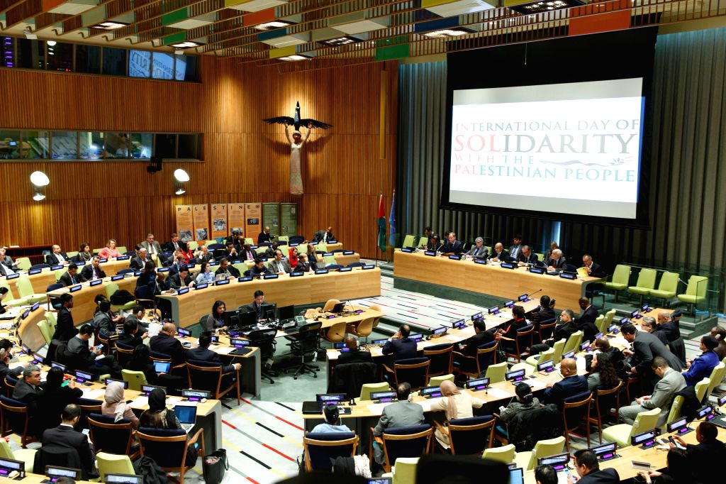 Photo taken on Nov. 23, 2015 shows a special meeting in observance of the International Day of Solidarity with the Palestinian People that is held at the United ...