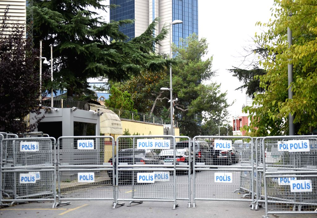 :Photo taken on Oct. 20, 2018 shows the Saudi consulate in Istanbul, Turkey. Preliminary investigations by the Saudi Public Prosecution showed missing journalist ...