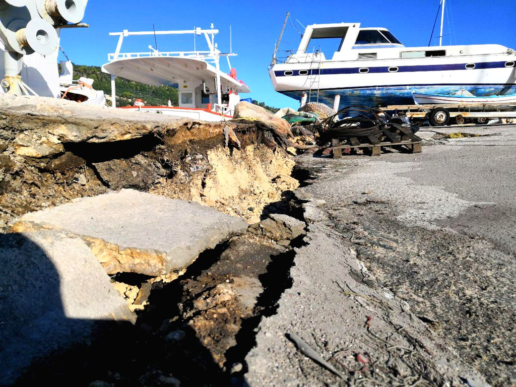 : Photo taken on Oct. 26, 2018 shows road damaged by a strong earthquake measuring 6.4 on the Richter scale which hit the Ionian Sea at Zakynthos, Greece. ...