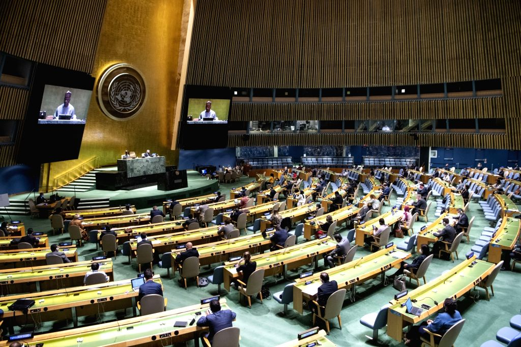 Photo taken on Sept. 11, 2020 shows a view of the 64th plenary meeting of the 74th session of the UN General Assembly at the UN headquarters in New York. ...