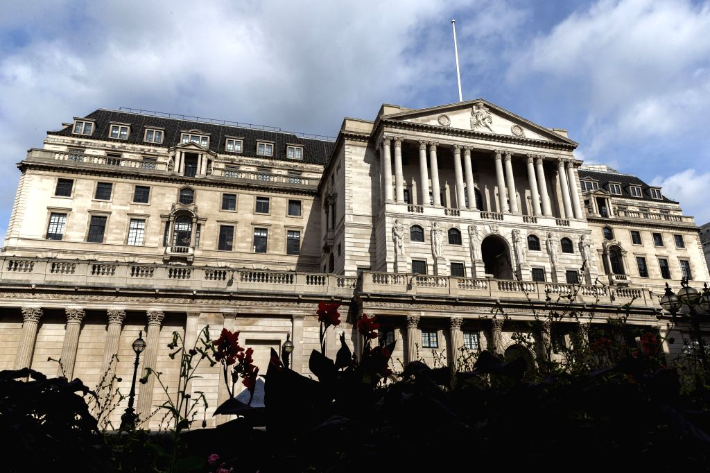 Photo taken on Sept. 12, 2020 shows a general view of the Bank of England in London, Britain. Britain's gross domestic product (GDP) recorded the third consecutive ...