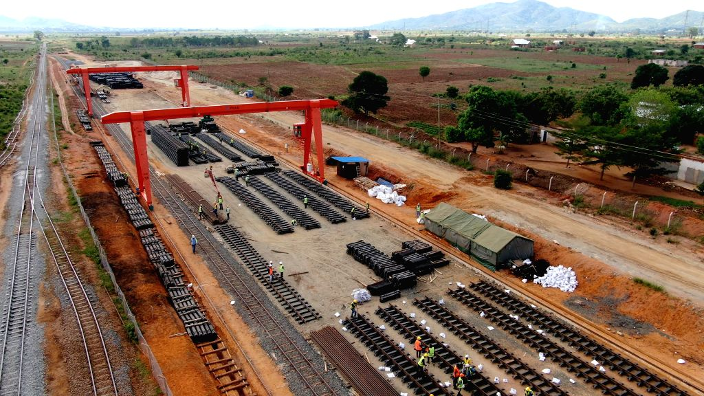 Photo taken with a drone shows a railway track storage area for Tanzania's Central Railway Line rehabilitation project undertaken by China Civil Engineering ...