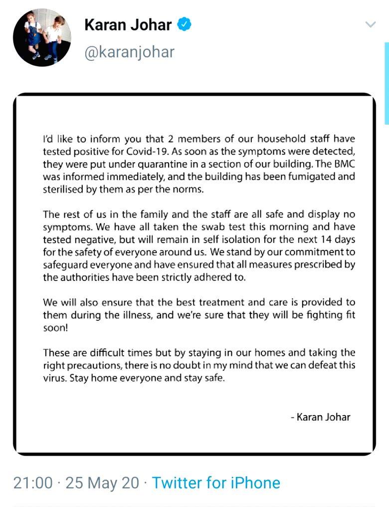 Photos for Karan Johar on self-isolation after two household staff test COVID-19 positive. - Karan Johar